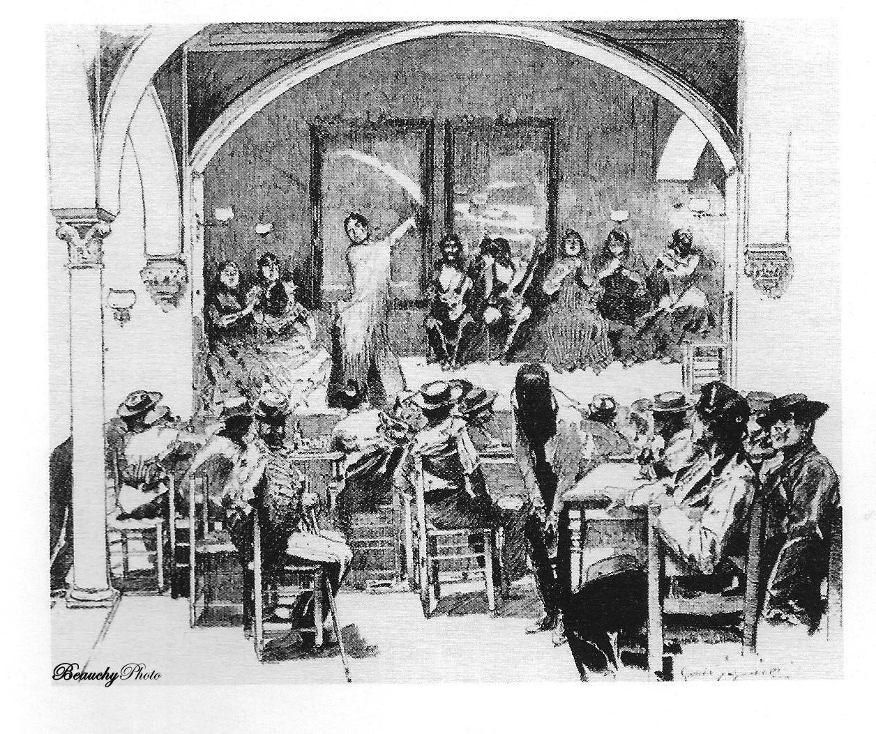 Dibujo inspirado en la fotografía del Café Cantante El Burrero de Emilio Beauchy Cano
