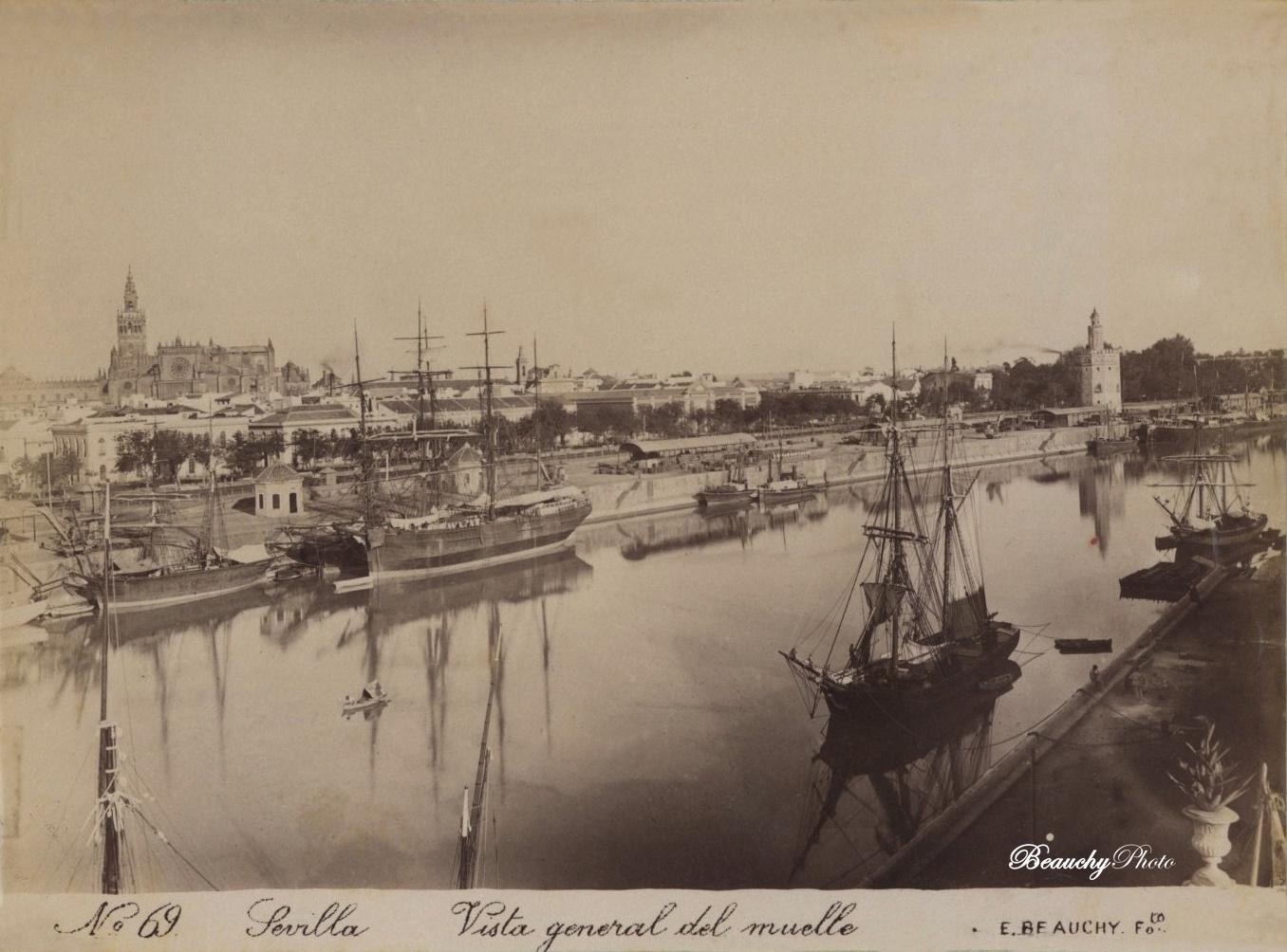 Beauchyphoto_Vista_general_del_muelle_de_Sevilla_Emilio_Beauchy_Cano_fotografias_antiguas_postales_vistas_y_monumentos
