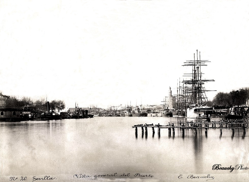 Beauchyphoto_Vista_general_del_Puerto_Sevilla_c.1890_Emilio_Beauchy_Cano_fotografias_antiguas_postales_vistas_y_monumentos