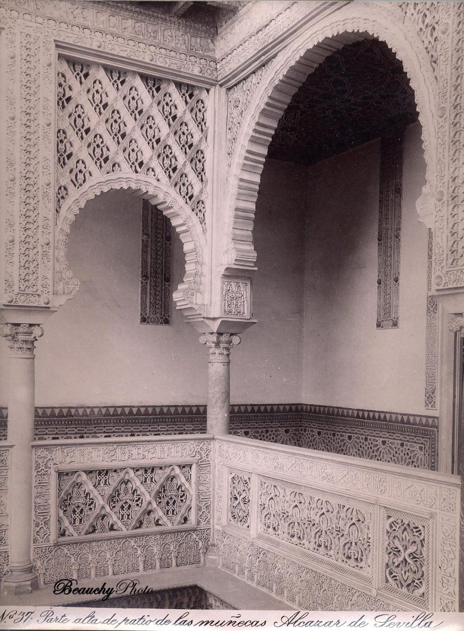 Beauchyphoto_Alcázar_de_Sevilla_Parte_alta_del_Patio_de_las_Muñecas_c1880_Emilio_Beauchy_Cano_fotografias_antiguas_postales_vistas_y_monumentos
