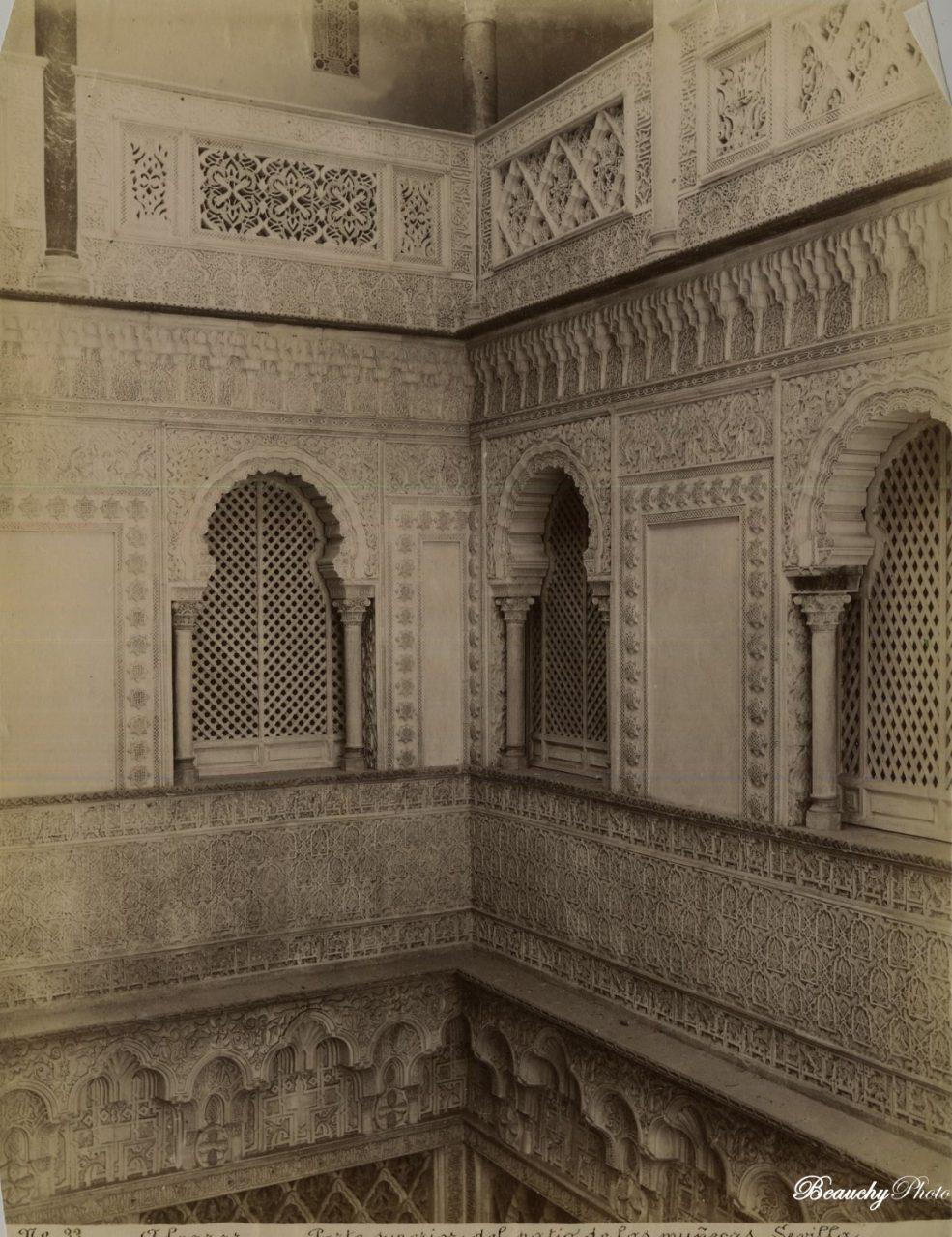 Beauchyphoto_Alcázar_de_Sevilla_Parte_superior_del_Patio_de_las_Muñecas_Emilio_Beauchy_Cano_fotografias_antiguas_postales_vistas_y_monumentos