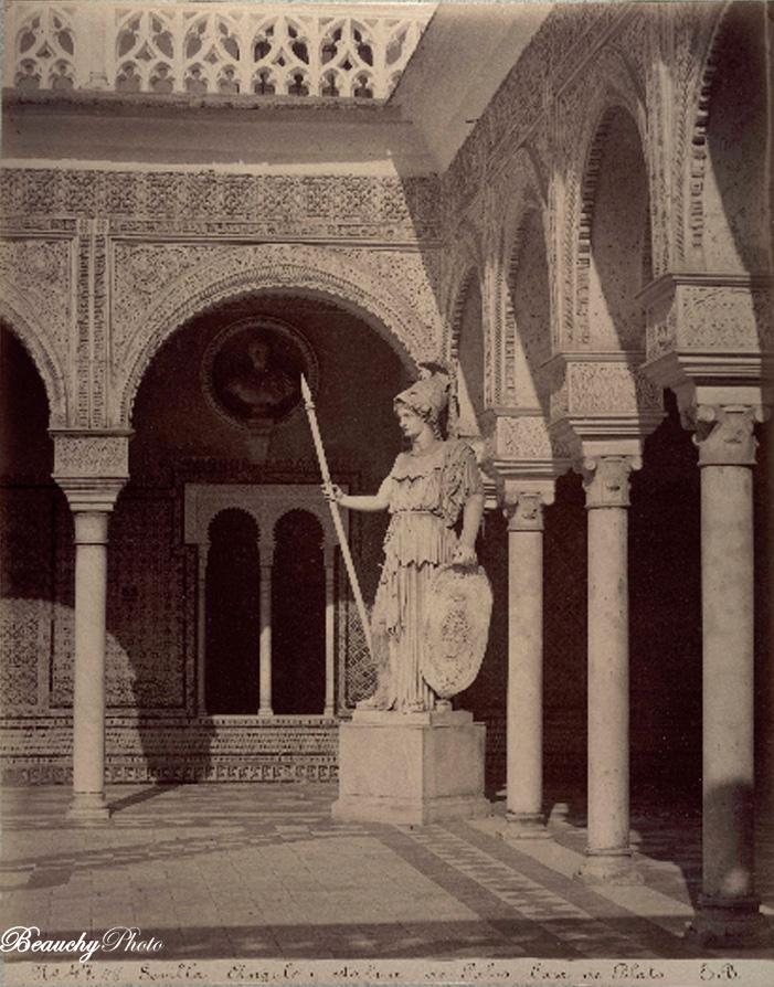 Beauchyphoto_Estatua_de_Palas_Casa_de_Pilatos_Emilio_Beauchy_Cano_fotografias_antiguas_postales_vistas_y_monumentos