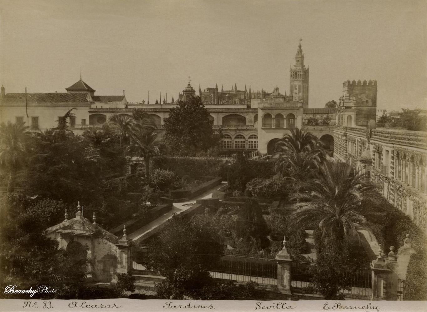 Beauchyphoto_Jardines_del_Alcázar_Catedral_Giralda_Emilio_Beauchy_Cano_fotografias_antiguas_postales_vistas_y_monumentos