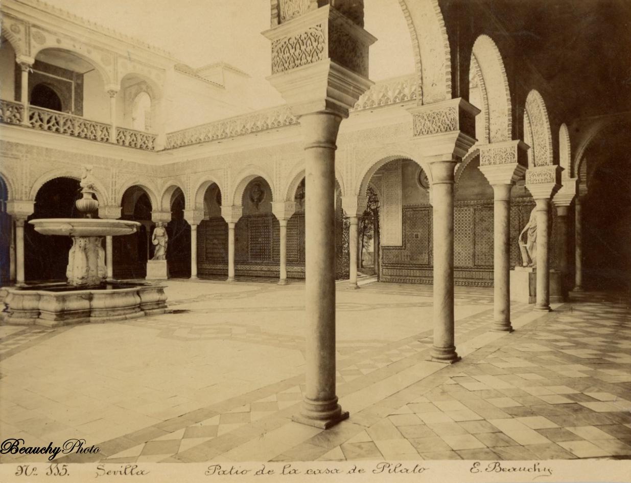 Beauchyphoto_Patio_de_la_casa_de_Pilato_2_Emilio_Beauchy_Cano_fotografias_antiguas_postales_vistas_y_monumentos