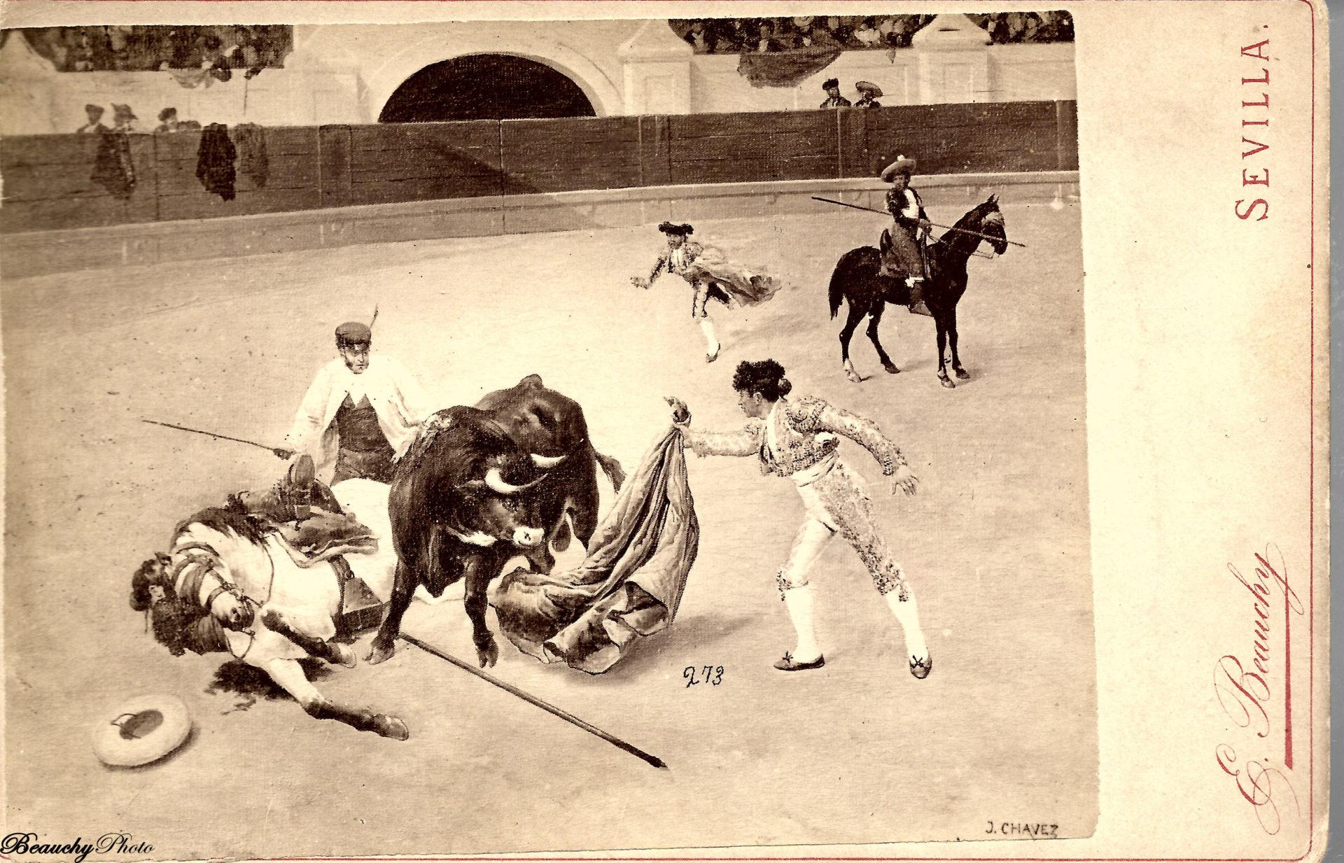 Beauchyphoto_El_Quite_Pintura_de_J_Chavez_Emilio_Beauchy_Cano_fotografias_antiguas_postales_cuadros