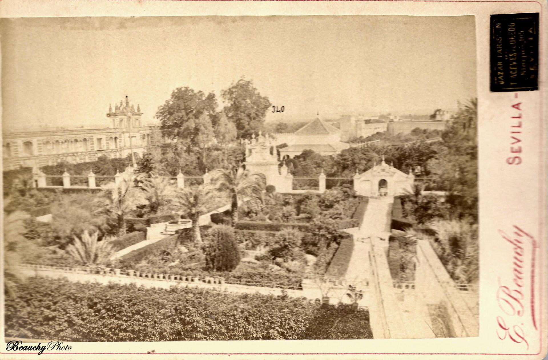Vista aérea de los Jardines del Alcázar de Sevilla