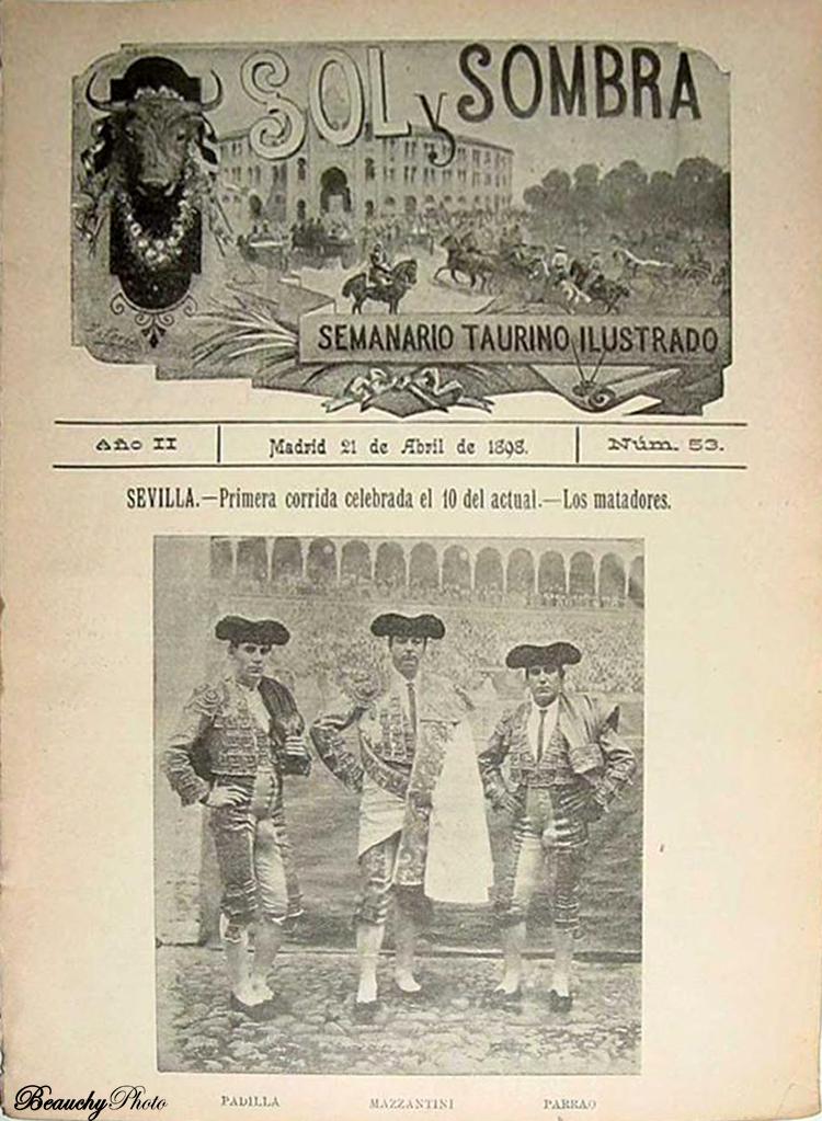Portada de la Revista Sol y Sombra nº 53 con los toreros Padilla Mazzantini y Parrao