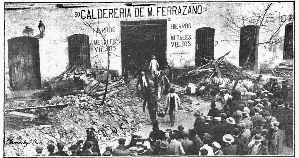 Beauchyphoto_Hundimiento_Casa_Calle_Adriano_04:01:1912_Julio_Beauchy_Garcia_fotografias_antiguas_postales_hechos_históricos